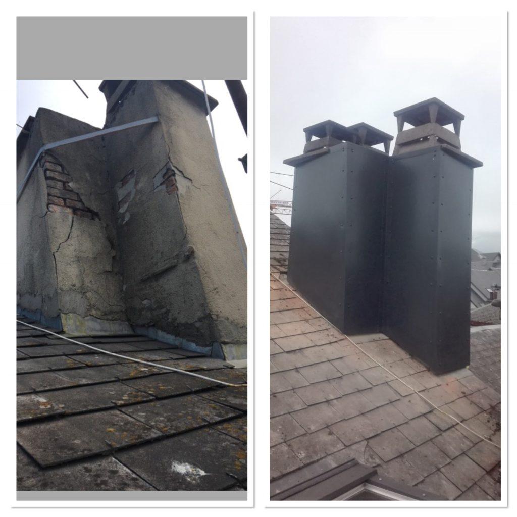 Rénovation de cheminée, habillage du conduit